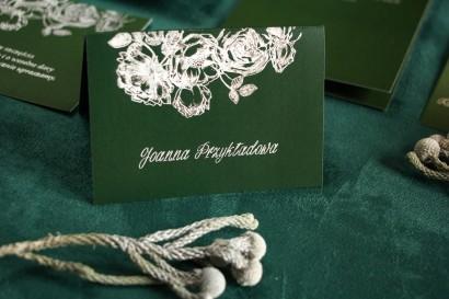 Zielono - Srebrne Winietki na stół weselny w stylu Glamour ze srebrzeniem