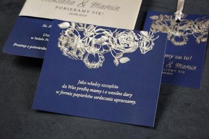 Granatowo - Srebrny Bilecik do zaproszeń ślubnych ze srebrzeniem w stylu Glamour.