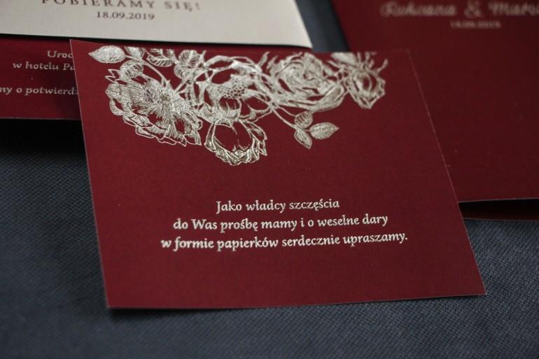 Bordowo - Srebrny Bilecik do zaproszeń ślubnych ze srebrzeniem w stylu Glamour.