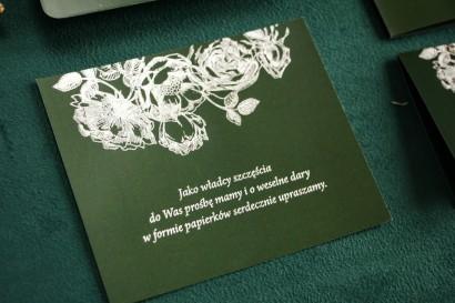 Zielono - Srebrny Bilecik do zaproszeń ślubnych ze srebrzeniem w stylu Glamour.
