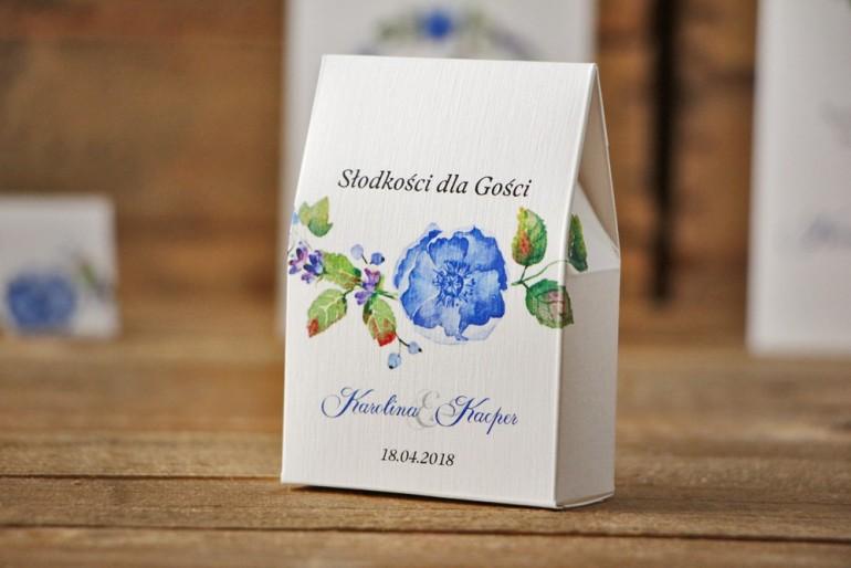 Pudełeczko stojące na cukierki, podziękowania dla Gości weselnych - Akwarele nr 5 - Chabrowe kwiaty i zieleń