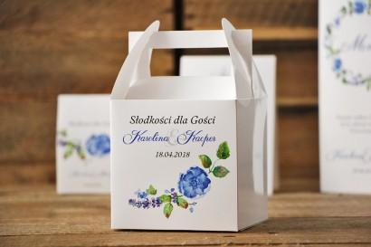 Pudełko na ciasto kwadratowe, tort weselny - Akwarele nr 5 - Chabrowe kwiaty