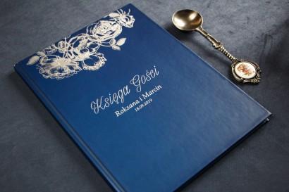 Granatowo - Srebrna Weselna Księga Gości ze srebrzeniem w stylu Glamour.