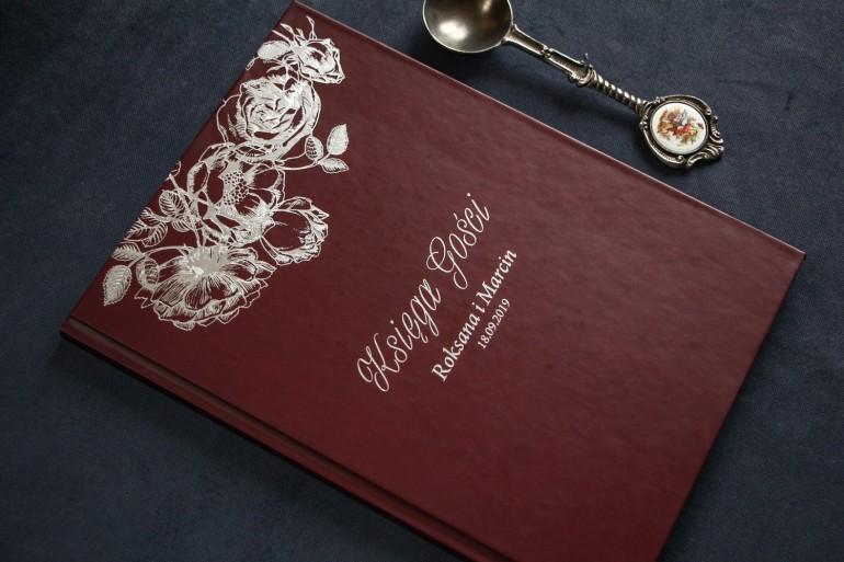 Bordowo - Srebrna Weselna Księga Gości ze srebrzeniem w stylu Glamour.