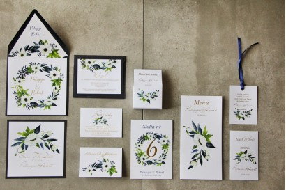 Zaproszenia ślubne ze złoceniem, białymi anemonami, granatem i zielenią. Złote zaproszenia ślubne - Cykade nr 3 Zestaw