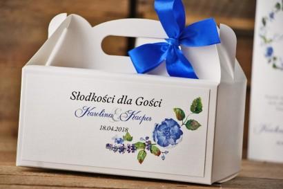 Prostokątne pudełko na ciasto, tort weselny, ślub - Akwarele nr 5 - Chabrowe kwiaty