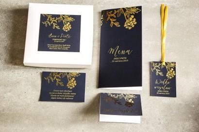 Granatowe zaproszenia ślubne glamour w pudełku – połączenie eleganckiego pudełka z granatem i złoceniem - zestaw próbkowy