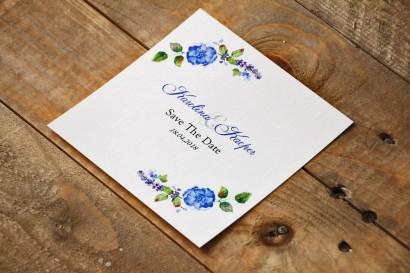 Bilecik Save The Date do zaproszenia - Akwarele nr 5 - Chabrowe kwiaty