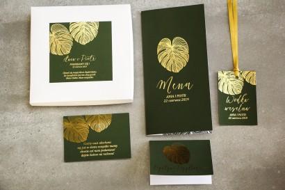 Zestaw próbny zaproszeń ślubnych glamour w pudełku wraz z dodatkami - Szafir nr 1