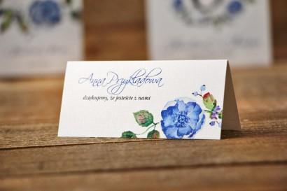 Winietki na stół weselny, ślub - Akwarele nr 5 - Chabrowe kwiaty