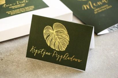 Złocone Winietki ślubne w stylu Glamour. Eleganckie połączenie zieleni ze złoconymi liśćmi monstery