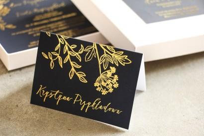 Złocone Winietki ślubne w stylu Glamour. Eleganckie połączenie granatu ze złoconymi gałązkami