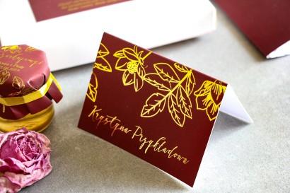 Złocone Winietki ślubne w stylu Glamour. Eleganckie połączenie bordo ze złoconymi gałązkami