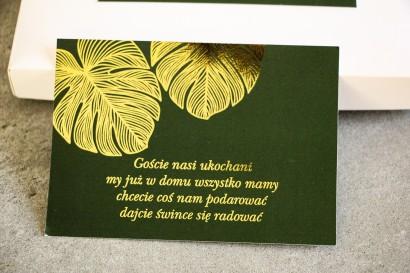 Bilecik do zaproszeń ślubnych ze złoceniem w stylu Glamour. Eleganckie połączenie zieleni ze złoconymi liśćmi monstery