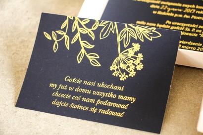 Bilecik do zaproszeń ślubnych ze złoceniem w stylu Glamour.  Eleganckie połączenie granatu ze złoconymi gałązkami