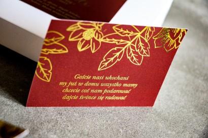 Bilecik do zaproszeń ślubnych ze złoceniem w stylu Glamour.  Eleganckie połączenie bordo ze złoconymi gałązkami
