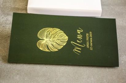 Złocone Menu weselne w stylu Glamour. Eleganckie połączenie zieleni ze złoconymi liśćmi monstery