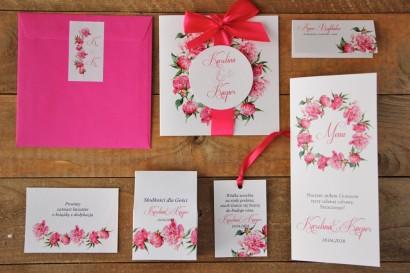 Zaproszenie ślubne z kolorową kopertą - Akwarele nr 6 - Amarantowe piwonie