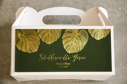 Złocone Pudełko na Ciasto weselne w stylu Glamour. Eleganckie połączenie zieleni ze złoconymi liśćmi monstery