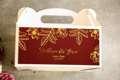 Złocone Pudełko na Ciasto weselne w stylu Glamour. Eleganckie połączenie bordo ze złoconymi gałązkami