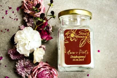 Świeczki - podziękowania dla gości weselnych w stylu Glamour. Eleganckie połączenie bordo ze złoconymi gałązkami