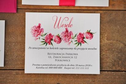 Bilecik do zaproszenia 120 x 98 mm prezenty ślubne wesele - Akwarele nr 6 - Amarantowe piwonie