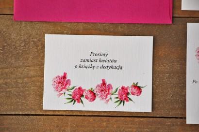 Bilecik do zaproszenia 105 x 74 mm prezenty ślubne wesele - Akwarele nr 6 - Amarantowe piwonie