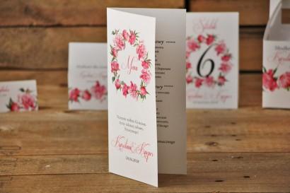 Menu weselne, stół weselny - Akwarele nr 6 - Amarantowe piwonie