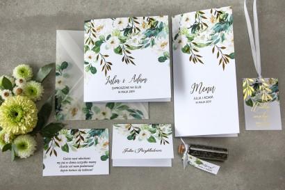 Zestaw próbny kwiatowych zaproszeń ślubnych ze złoceniem - Rubin nr 1