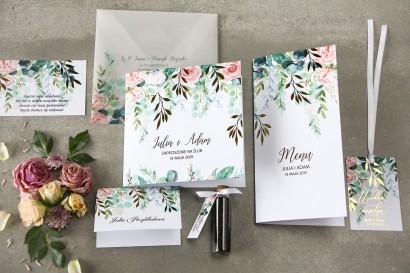 Zestaw próbny kwiatowych zaproszeń ślubnych ze złoceniem - Rubin nr 2