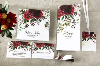 Zestaw próbny kwiatowych zaproszeń ślubnych ze złoceniem - Rubin nr 3