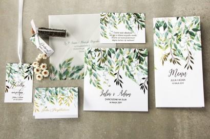 Zestaw próbny kwiatowych zaproszeń ślubnych ze złoceniem - Rubin nr 4