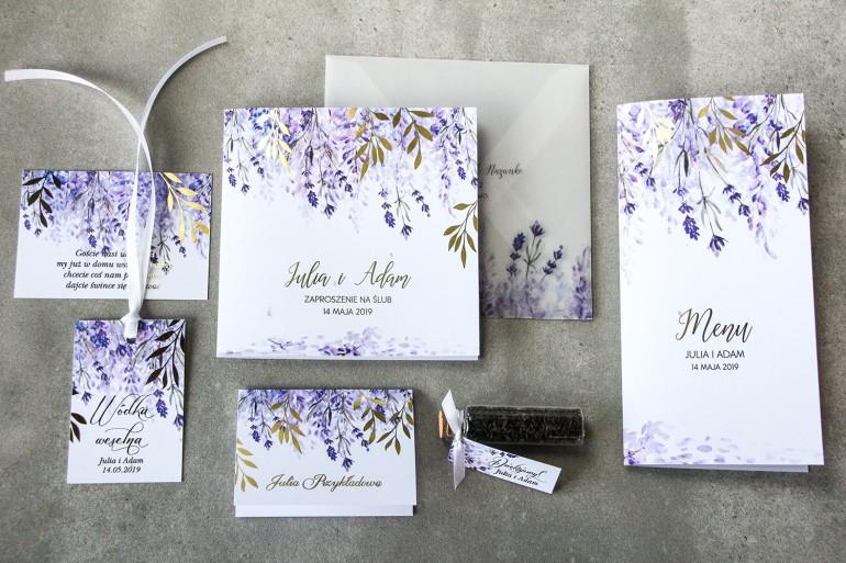 Zestaw próbny kwiatowych zaproszeń ślubnych ze złoceniem - Rubin nr 5