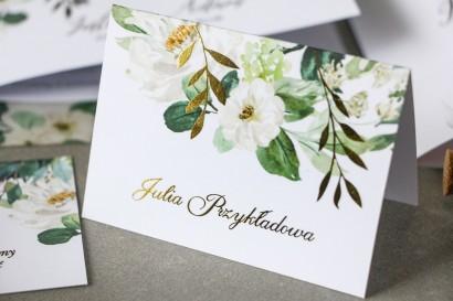 Kwiatowe Winietki ślubne ze złoconymi gałązkami w stylu glamour, motyw delikatnych, białych kwiatów i zieleni