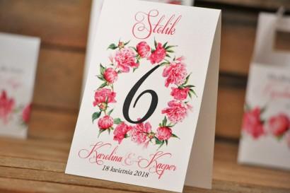 Numery stolików, stół weselny, ślub - Akwarele nr 6 - Amarantowe piwonie
