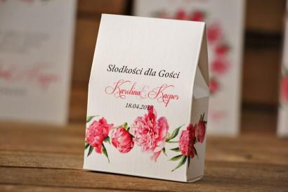 Pudełeczko stojące na cukierki, podziękowania dla Gości weselnych - Akwarele nr 6 - Amarantowe piwonie