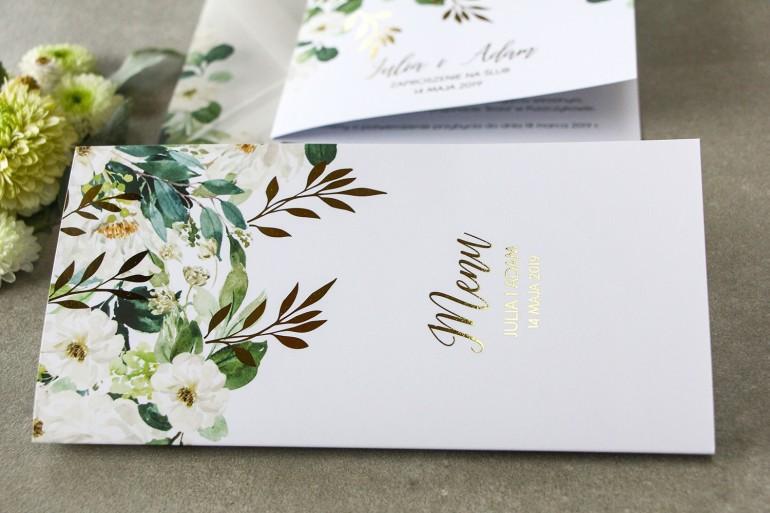 Biało-zielone Menu weselne ze złoconymi gałązkami w stylu glamour, motyw delikatnych, białych kwiatów i zieleni