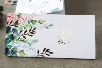 Pastelowe, różowe Menu weselne ze złoconymi gałązkami w stylu glamour, motyw delikatnych, różowych piwonii z eukaliptusem