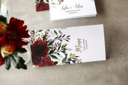 Burgundowe, bordowe Menu weselne ze złoconymi gałązkami w stylu glamour, motyw bordowych piwonii z zielonymi gałązkami