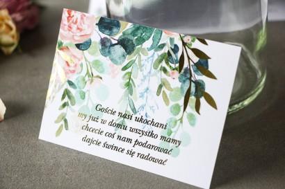 Różowy Bilecik do zaproszeń ślubnych ze złoconymi gałązkami w stylu glamour, motyw delikatnych, różowych piwonii z eukaliptusem