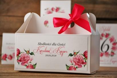 Prostokątne pudełko na ciasto, tort weselny, ślub - Akwarele nr 6 - Amarantowe piwonie