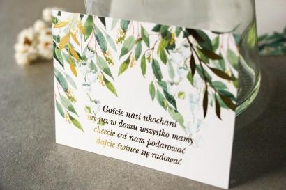 Biało - zielony Bilecik do zaproszeń ślubnych z konwalią i złoconymi gałązkami w stylu glamour