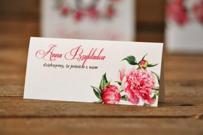 Winietki na stół weselny, ślub - Akwarele nr 6 - Amarantowe piwonie