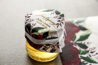 łoiczek z miodem - słodkie podziękowanie dla gości weselnych. Burgundowy, bordowy kapturek ze złoconymi napisami w stylu glamour