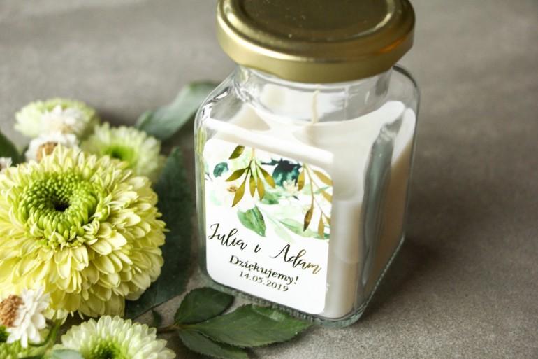 Świeczki - podziękowania dla gości weselnych w stylu Glamour. Biało-zielona etykieta ze złoconymi gałązkami w stylu glamour
