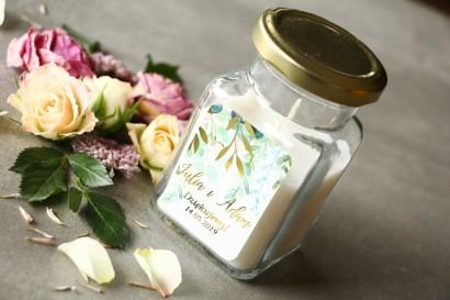Świeczki - podziękowania dla gości weselnych w stylu Glamour. Pastelowa, różowa etykieta ze złoconymi gałązkami w stylu glamour
