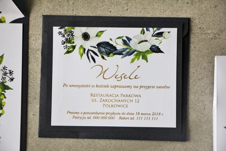 Bilecik dwuwarstwowy prezenty ślubne wesele - Cykade nr 3 ze złoceniem - Białe anemony, granat i zieleń