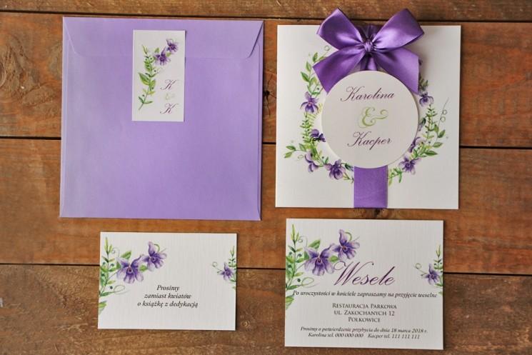 fioletowe zaproszenia ślubne