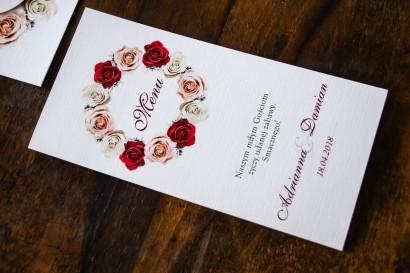 Menu weselne, ślubne. Grafika z z kremowymi i bordowymi różami
