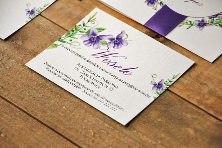 Bilecik do zaproszenia 120 x 98 mm prezenty ślubne wesele - Akwarele nr 7 - Fioletowe fiołki